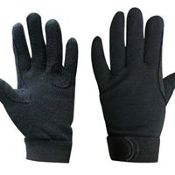 Breathable cotton knit reinforced riding gloves w/ pebbled palms